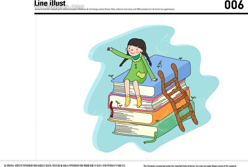 梯子小女孩卡通漫画人物图片漫画人物手绘卡通漫画人物企业漫画人物