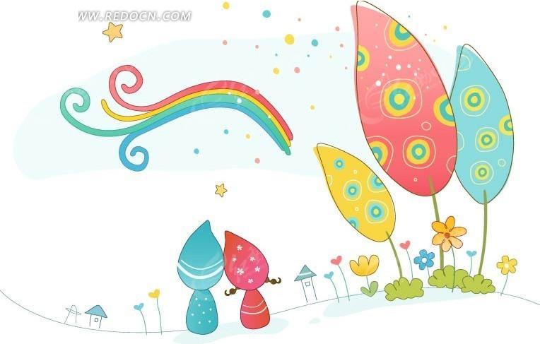 彩色卡通小人和树