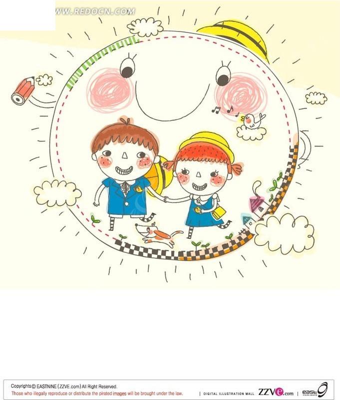 手绘太阳上手牵手的两个小朋友矢量图
