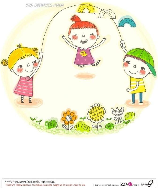 小朋友 跳绳 可爱 花朵 卡通 绘画 卡通人物 矢量素材 户外玩耍  卡通