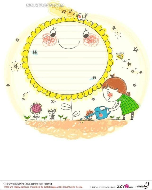 手绘 浇花 大花朵 卡通 绘画 插画 女孩 可爱 卡通人物 卡通人物图片
