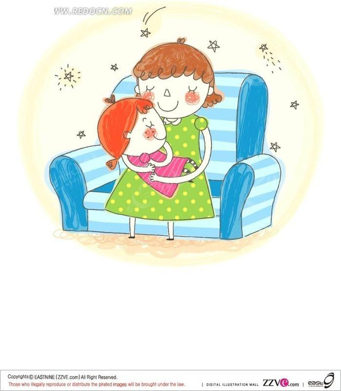 哄小女孩睡觉的妈妈矢量图 卡通形象
