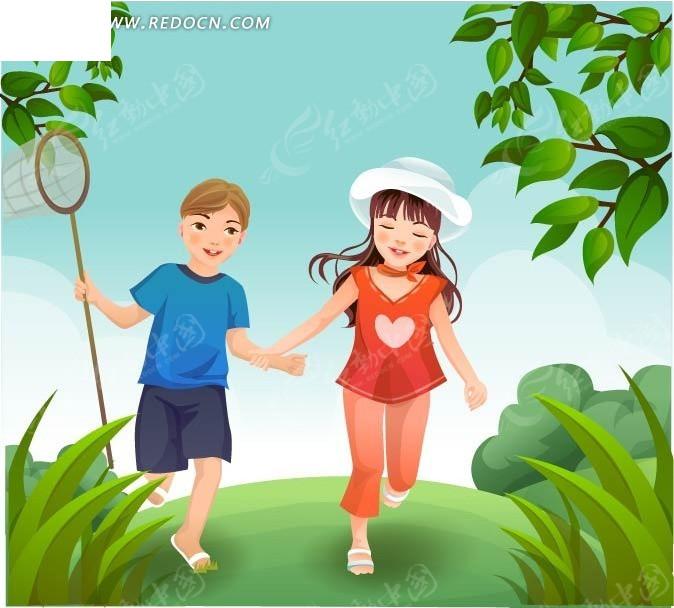 一起去抓昆虫的小男孩和小女孩矢量图卡通形象