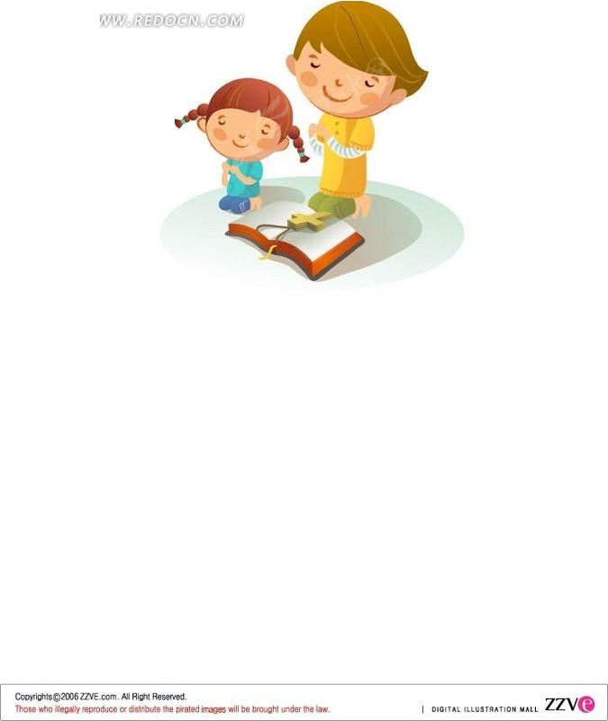祈祷 母女 小女孩 妈妈 十字架 经书 卡通 绘画 插画 卡通人物 卡通人