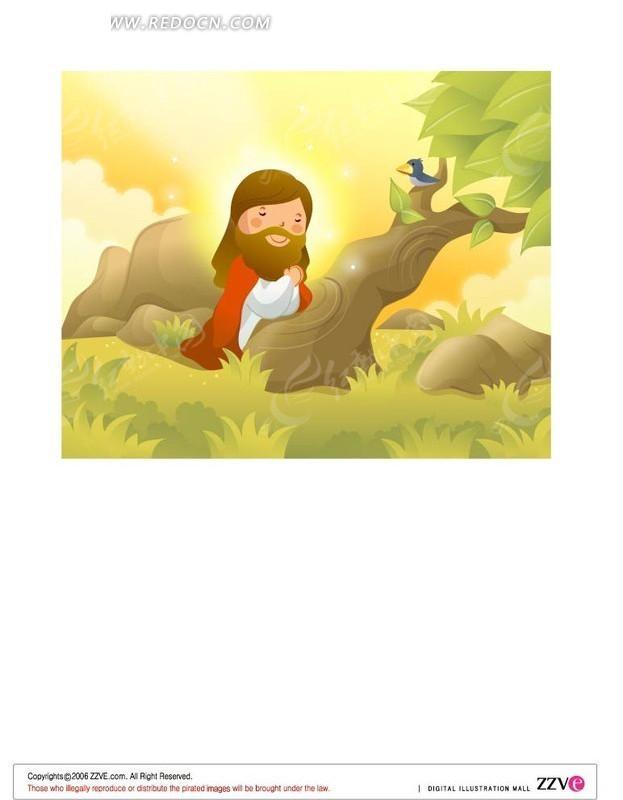 树下的人和树上的小鸟卡通素材
