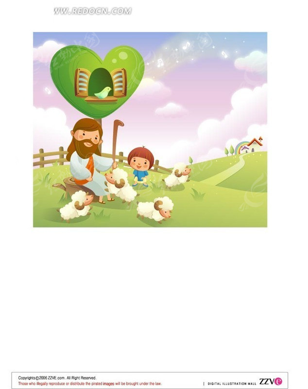 牧羊人和小孩卡通素材矢量图