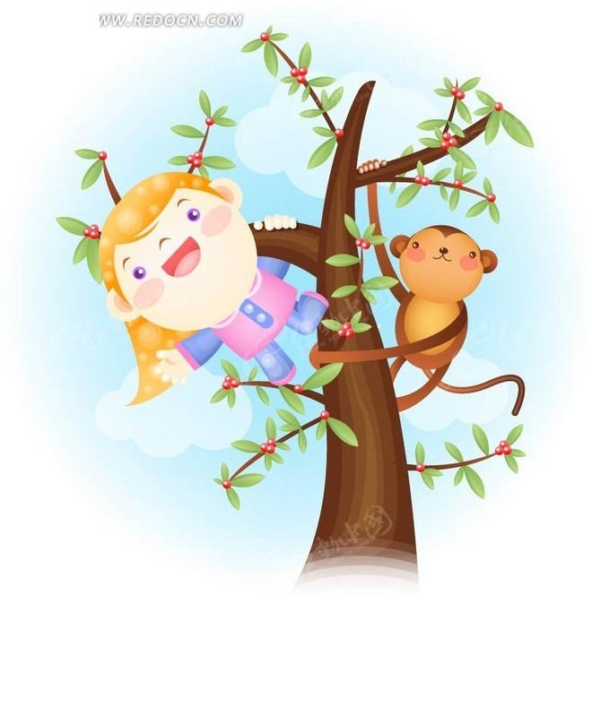 爬在树上的卡通小女孩与可爱小猴子图片