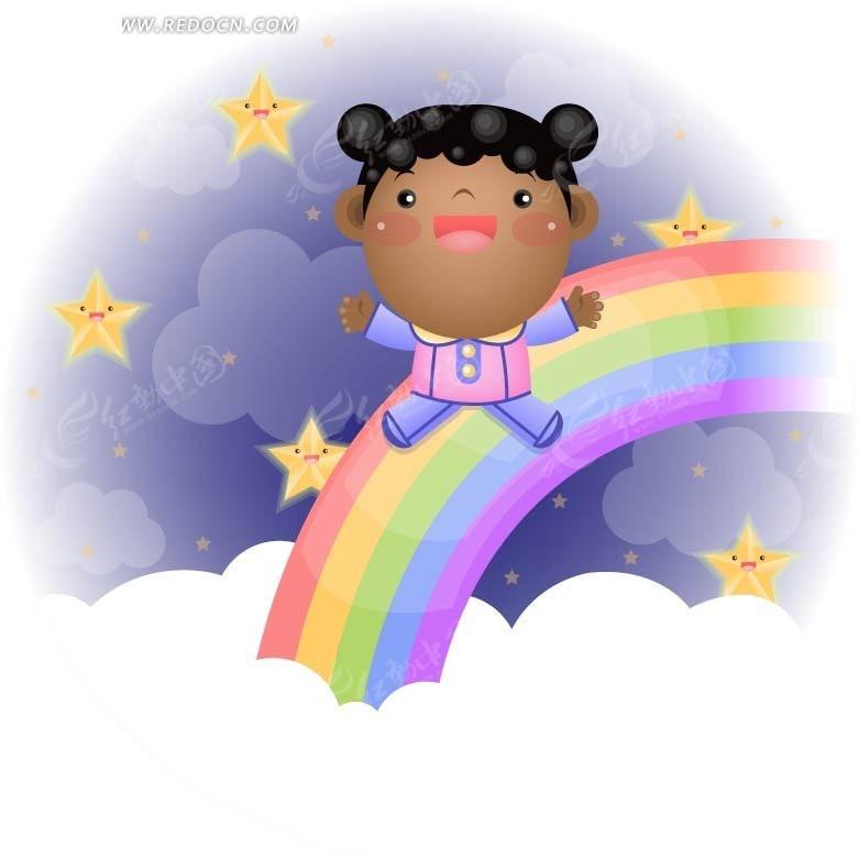手绘彩虹上的小女孩矢量图_卡通形象