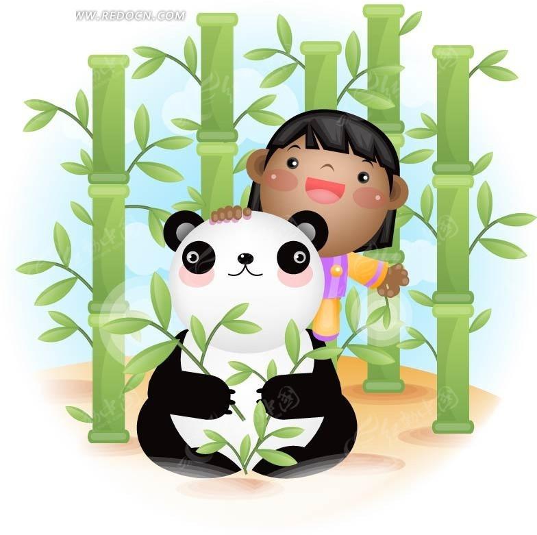 抱着竹叶 熊猫 小女孩 竹林 手绘 卡通人物 卡通人物图片 漫画人物 人