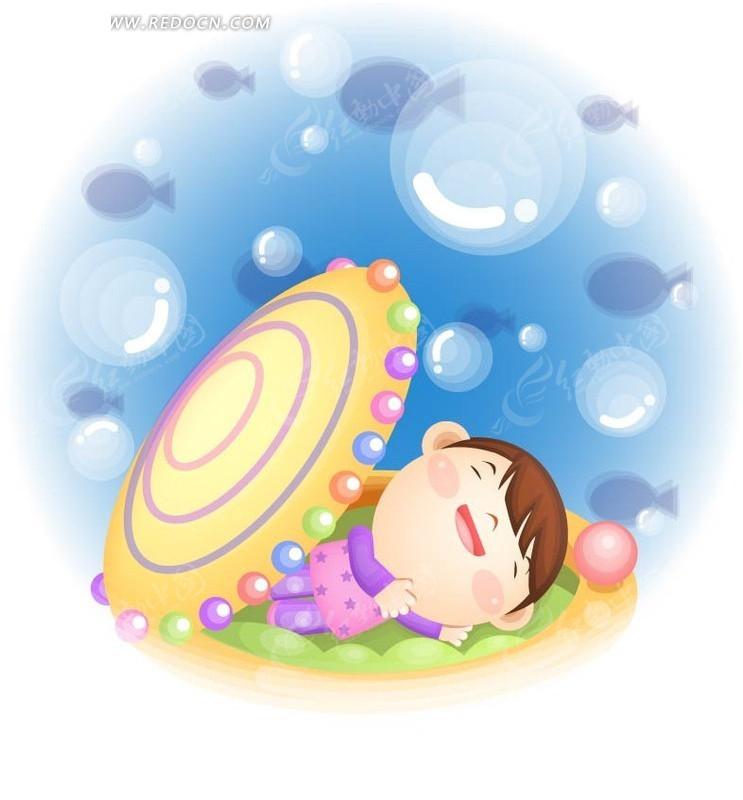 在贝壳里睡觉的小女孩矢量图