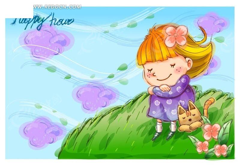 吹风 女孩  小猫 抱着双腿 手绘  卡通人物 卡通人物图片 漫画人物 人