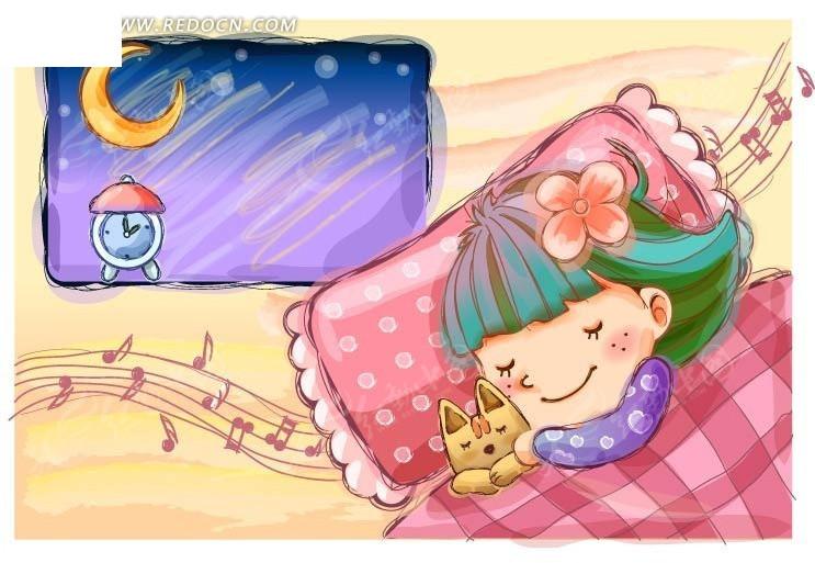 抱着小狗睡觉的卡通小女孩