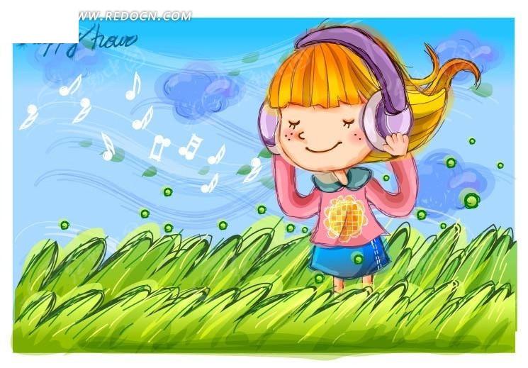 站在草丛上戴着耳机听歌的卡通小女孩
