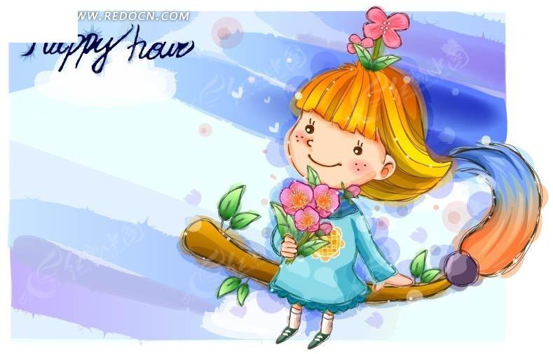 飞起来 扫把 花朵 小女孩 卡通儿童 卡通人物 矢量人物 卡通 手绘