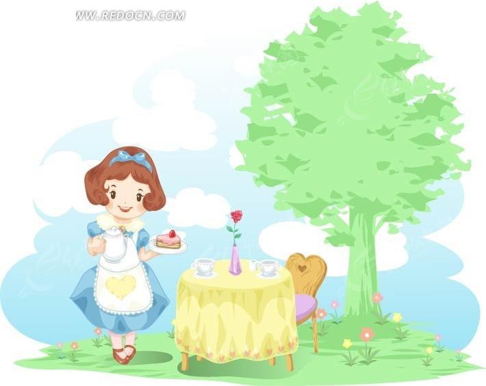 卡通餐桌边端着蛋糕的小女孩