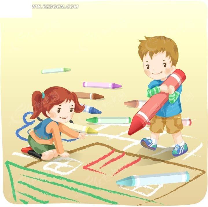拿着蜡笔在地上画画的两个可爱小朋友矢量图