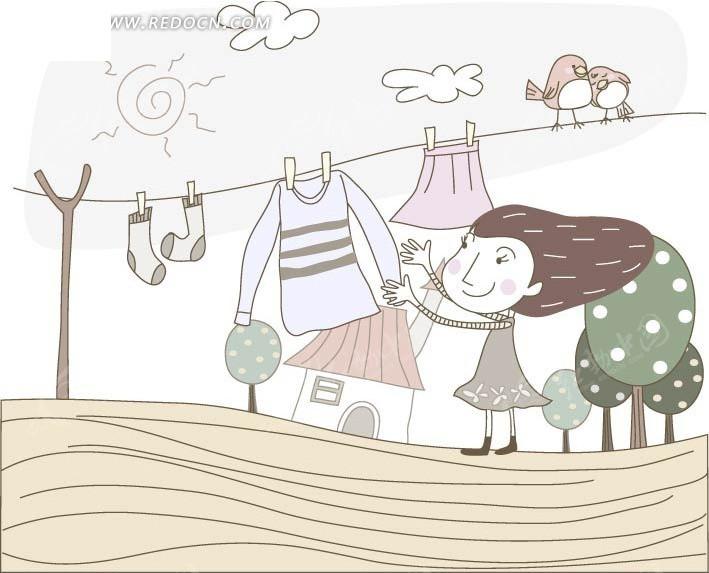 正在晾衣服的可爱卡通小女孩矢量图