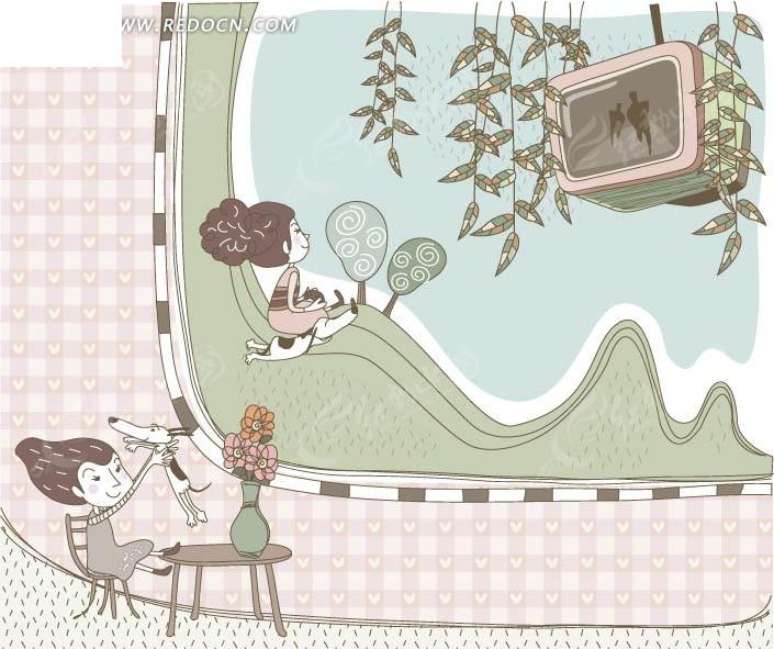 卡通女孩看电视图片