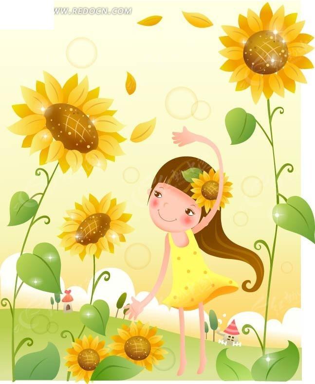 向日葵下可爱的小女孩