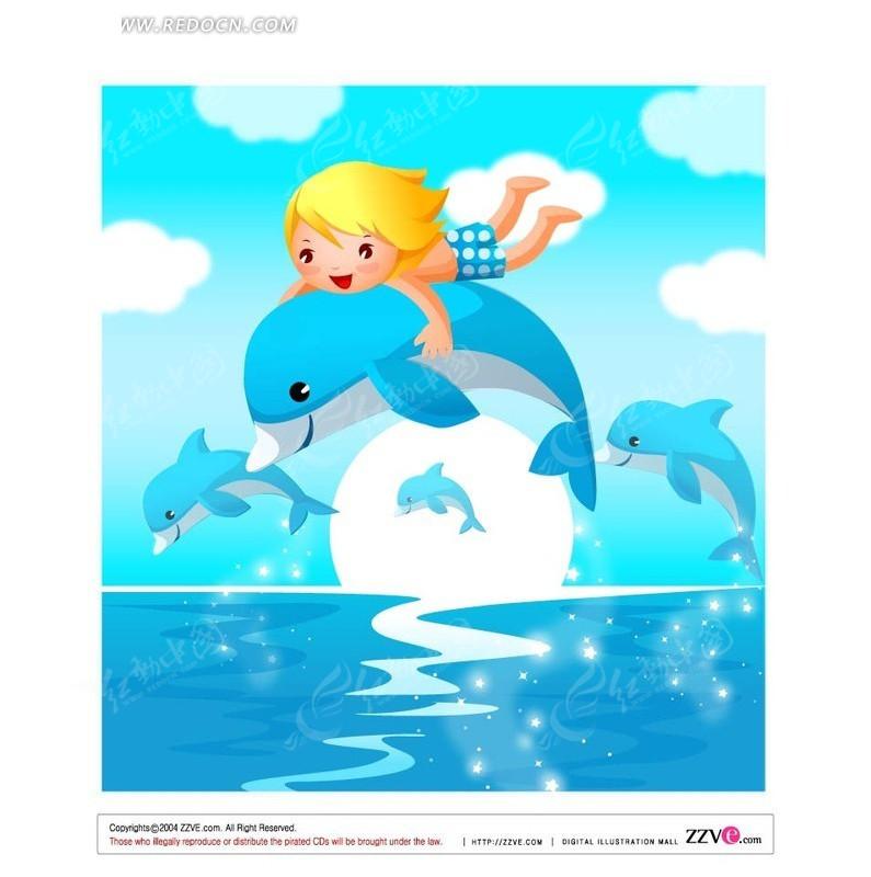 海上 海面 抱着海豚 小孩 手绘 卡通人物 卡通人物图片 漫画人物 人物