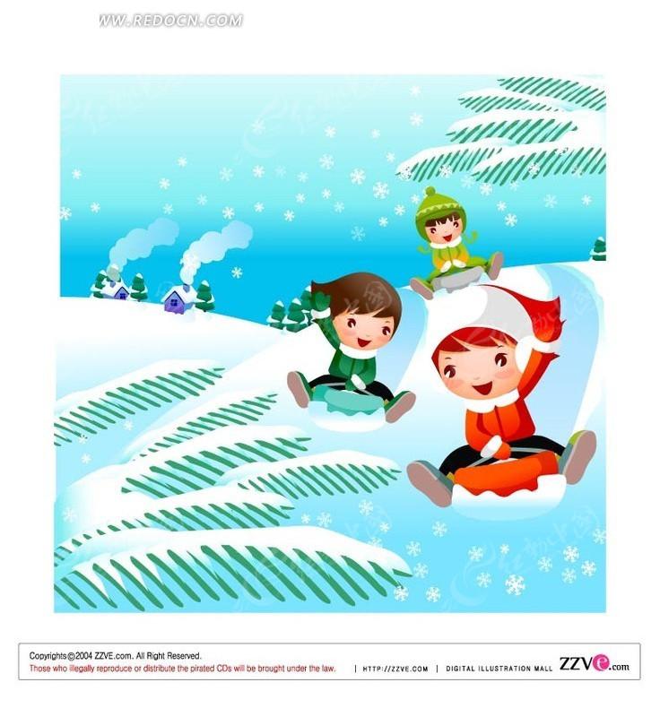 雪地 坐着雪橇 滑雪 孩子 手绘  卡通人物 卡通人物图片 漫画人物 人