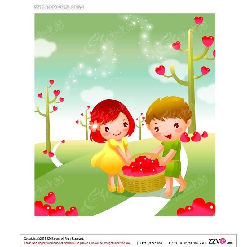 免费素材 矢量素材 矢量人物 卡通形象 收获一篮子红心的小男孩和小