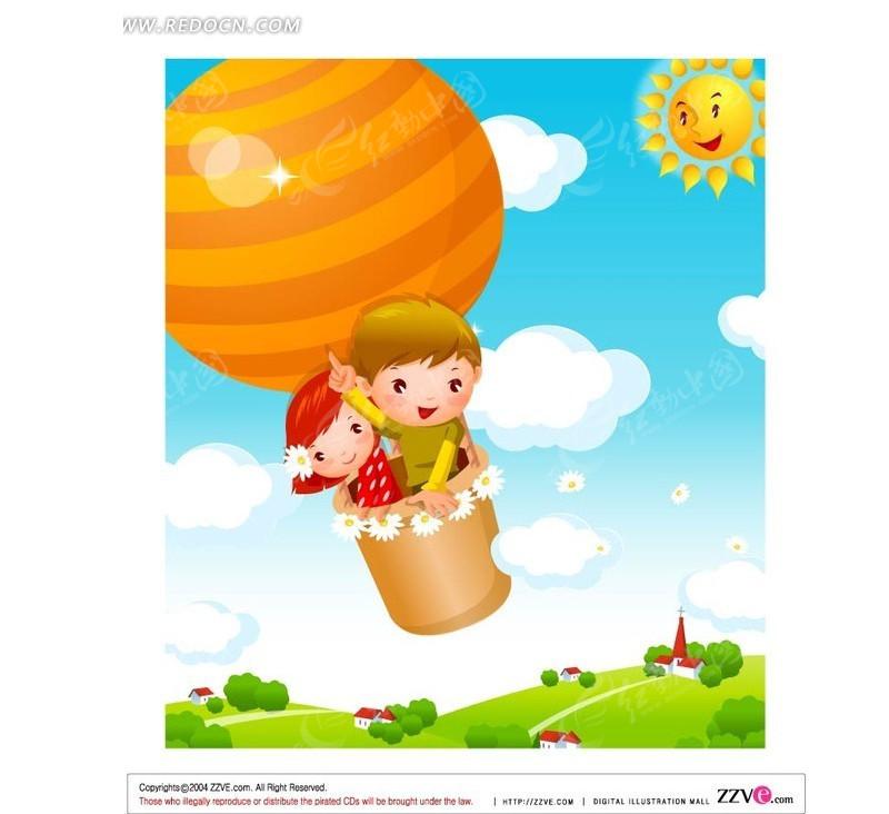 热气球 飞翔 手绘 天空 小男孩 小女孩 太阳 卡通人物 卡通人物图片
