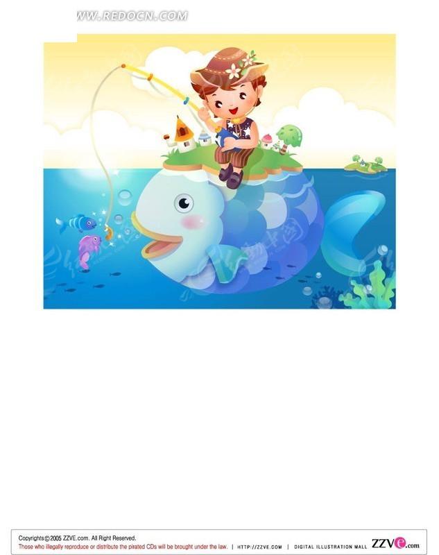 钓鱼的卡通人物矢量图