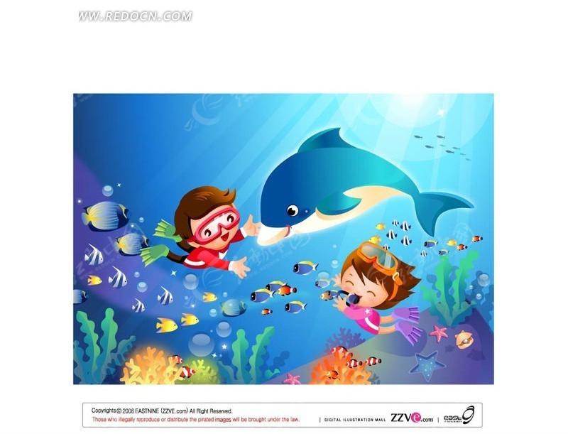 男女做爱动漫壁纸大全_潜水和海豚玩耍的男女