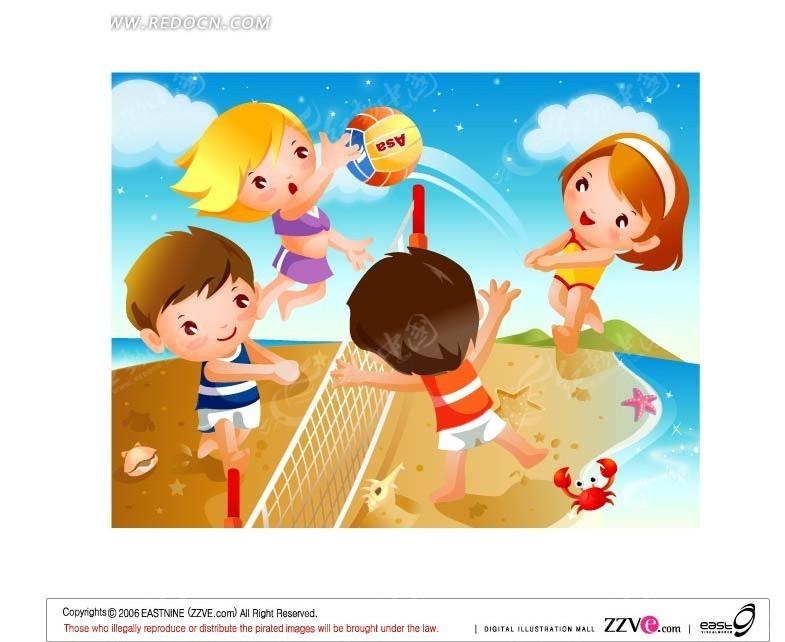 在沙滩上开心打排球的一群小朋友矢量图 卡通形象