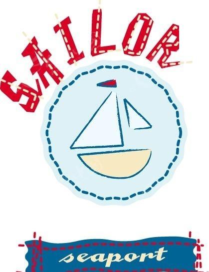 手绘徽章上帆船