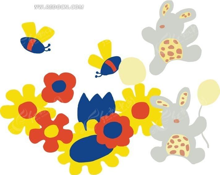 手绘 采蜜 蜜蜂 兔子 花朵 卡通人物 卡通人物图片 漫画人物 人物素材