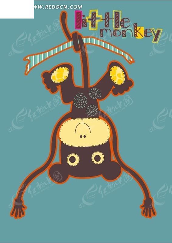 手绘尾巴倒挂树枝的猴子