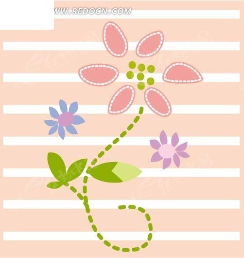 手绘线条卡通小花