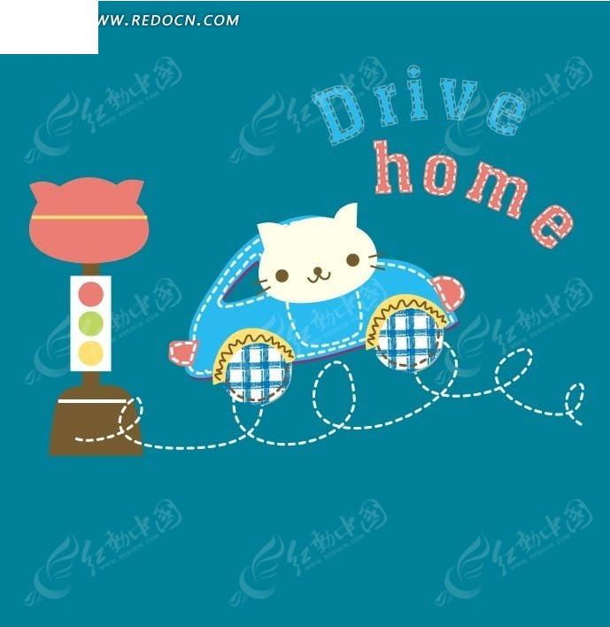 手绘 缝补 线条 小猫 开汽车 红绿灯  卡通人物 卡通人物图片 漫画
