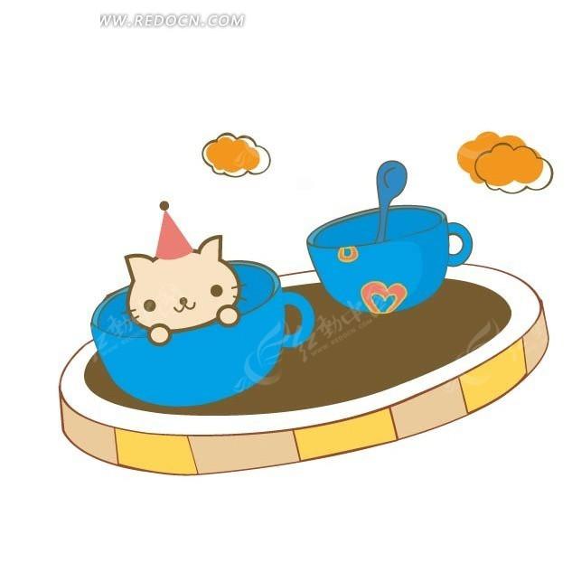 手绘硬笔上茶杯小猫矢量图_卡通形象