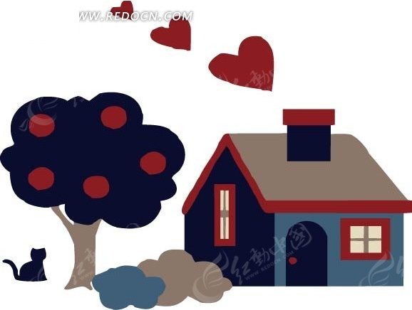 手绘 果树 小猫 心形  烟窗 屋子 卡通人物 卡通人物图片 漫画人物