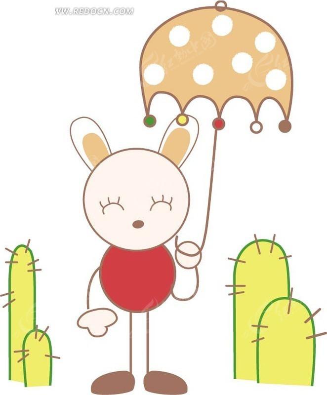 手绘打着雨伞的兔子