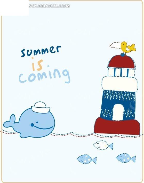 鲸鱼 水手 海上漂浮城堡 小鱼 手绘 卡通人物 卡通人物图片 漫画人物