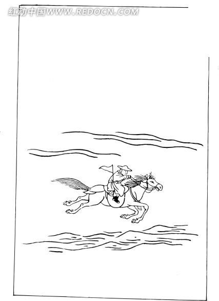 骑着马飞奔的人线描图