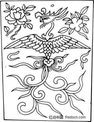 手绘凤凰 凤凰底纹图案 ai矢量凤凰 花纹 花纹素材 花边 花边素材