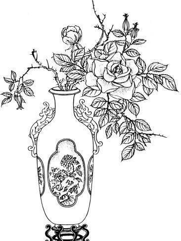 中国古典绘画 花瓶里的花朵和叶子AI素材免费下载 编号1427155 红动网