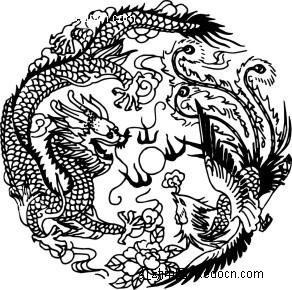手绘素描龙凤呈祥图案