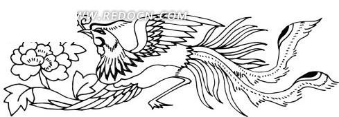 手绘叼花枝的凤凰图案