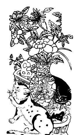矢量手绘花瓶花朵猫儿插画