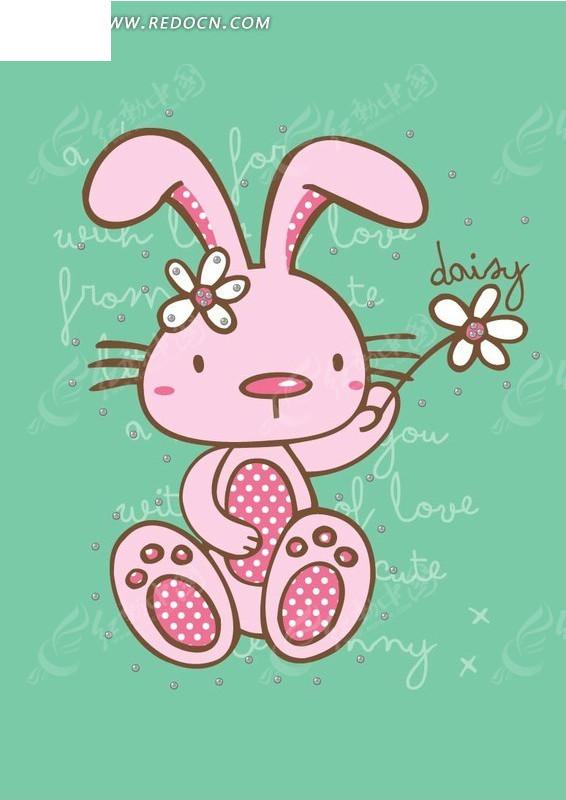 绿色背景里的可爱小白兔矢量图