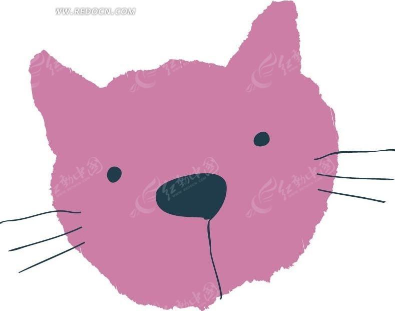 矢量粉色的猫咪动物头部插画