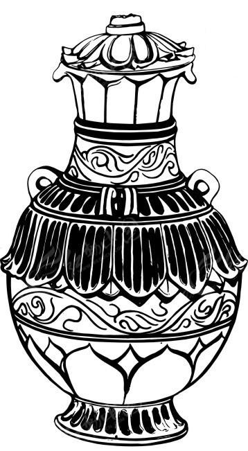 手绘带盖的陶瓷花瓶