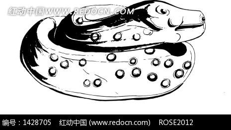 手绘卷蛇陶瓷图案