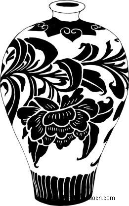 带花纹的陶瓷瓶 手绘陶瓷花瓶 陶瓷花瓶  ai矢量陶瓷花瓶 工艺品 矢量